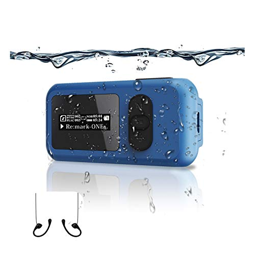 16G Waterproof MP3 Music Player Swimming Surfing Beach More Than 10 Hours of Playing FM Radio and Pedometer Function Bluetooth (Blue)