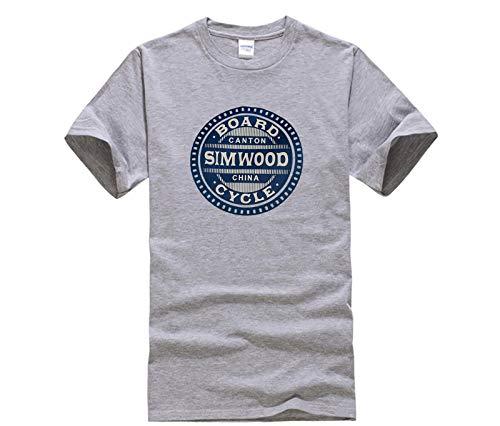 Top Men's T Shirt SIMWOOD Casual Camisetas Hombres letra Impresa Moda Tops Hombre Slim Fit Plus Size Tshirt Grey XXL