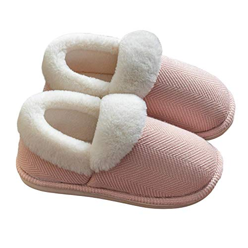 HUSHUI Espuma De Memoria CáLido Comodidad Pantuflas,Zapatillas de casa cálidas de Suela Gruesa, Zapatillas de algodón de Interior para el hogar de Invierno-Pink_36-37,CáLido Pantuflas Memoria Espuma