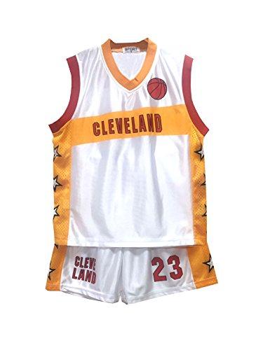 Completo estivo da basket, pantaloncini e maglietta, da bambino e bambina, età 3-14anni Cleveland 3-4 Anni