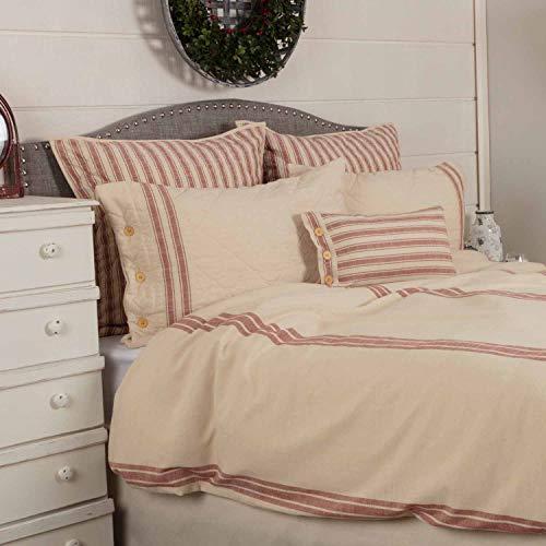 Piper Classics Market Place - Funda de edredón para cama de matrimonio, diseño de rayas, tamaño King, 233,7 x 274 cm, color rojo ladrillo y crema natural, moderna granja