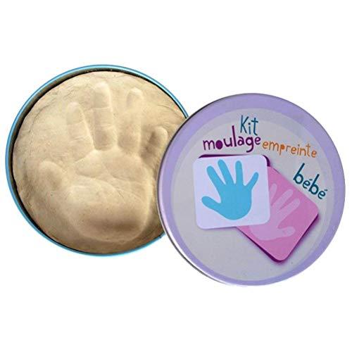 XX Small 33-1E-020 Coffret moulage Empreintes bébé Main Pied Argile Beige Boîte métal D15,5 x H2,5 cm