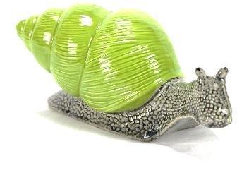 tangoo Céramique Jardin Figurine escargot Maison Vert clair gris, long 26 cm