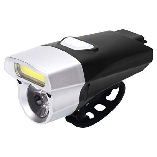 ALBEFY Luz frontal recargable para bicicleta, recargable por USB, resistente al agua, luz COB, luz doble, lámpara frontal para bicicleta, ciclismo, camping, al aire libre