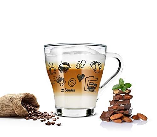 Sendez 6 Cappuccino Tassen und 6 Löffel Kaffeegläser Teegläser Kaffee-Aufdruck schwarz