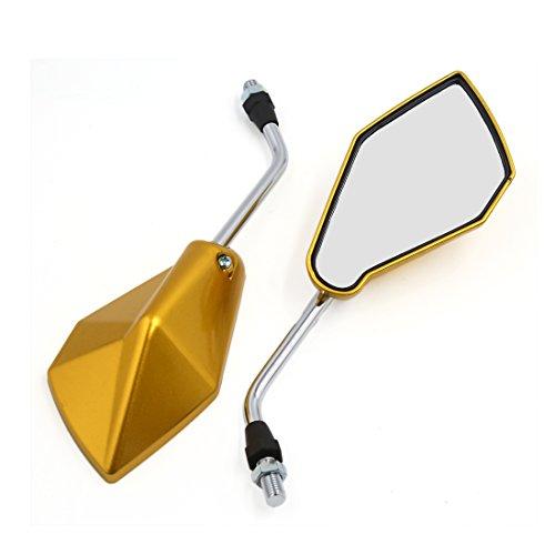 sourcing map Un Par 10mm Rosca Moto Espejo Retrovisor con Luz Intermitente LEDs Amarillo Tono Oro Dorado
