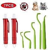 EasyULT 5 Unidades Pinzas para Garrapatas para Perros y Garrapatas + 2 Unidades Tick Tweezer Horse Pet Tick Remover Tweezer- Verde