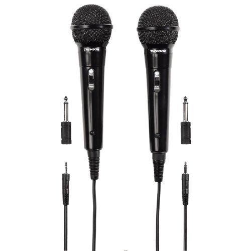 Thomson 2x Dynamisches Mikrofon M135D (Doppelpack, Nierencharakteristik, 3,5 mm Klinkenstecker, Kabellänge 3 m) schwarz