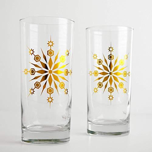 Festive Snowflake Glassware - Set of 2 Metallic Gold Christmas Glasses, Holiday Hosting Highball Glass