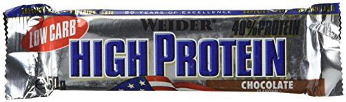 Weider 40% High Protein Low Carb Schoko Riegel – 50 Gramm (3.38 EUR/100g)