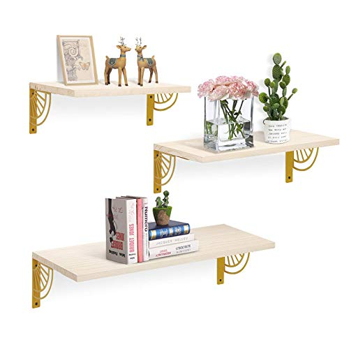 AGSIVO 3er Set Wandregal Schweberegal Hängeregal Dekorative Regale, stabile Hängeregale, Wandboards für Wohnzimmer, Schlafzimmer, Küche und Flur (Golden, Sektorform)
