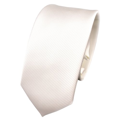 TigerTie schmale Designer Krawatte in weiß perlweiß creme cremeweiß einfarbig Uni Rips gemustert