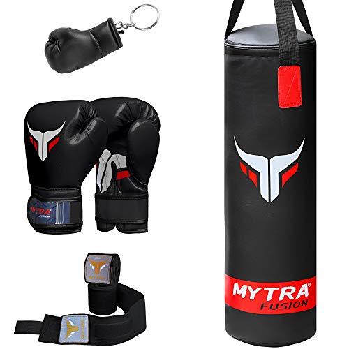 Mytra Fusion Kinder-Boxsack-Set mit Boxsack, Handschuhen, Handbandagen und Schlüsselanhänger, 7,5 m