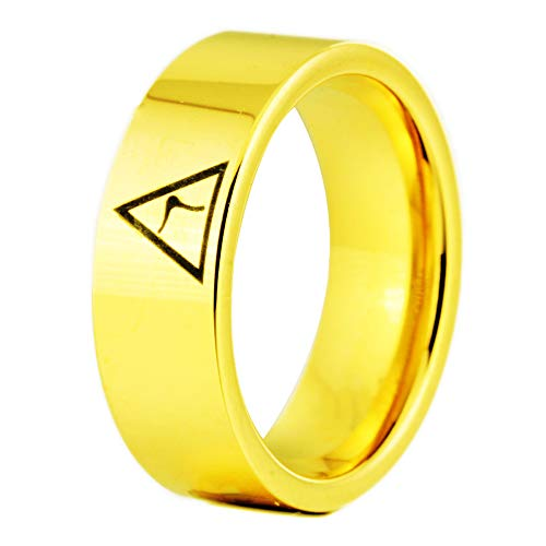 8mm Width Black Pipe 14th Degree Scottish Rite Masonic Rings,Tungsten Carbide Rings,Four Colors -Free Engraving Inside (Gold, 8.5)