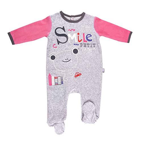 Petit Béguin - Pyjama bébé velours gris chiné Smile girl - Taille - 24 mois