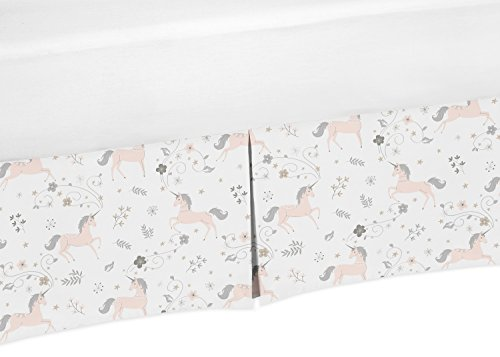 Pink, Grey and Gold Pleated Toddler Bed Skirt Dust Ruffle for Unicorn Collection by Sweet Jojo Designs