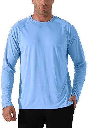 Herren UPF 50+ UV Schutz Shirt Sonnenschutz Langarm Performance T-Shirt Workout Running Shirts Schnelltrocknend Atmungsaktiv Wandershirt Herren Surf Laufen Angeln Wandern Shirts Blau Blue