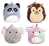 Squishmallows Clip-Ons - Mochila con llavero, diseño de mapache, erizo, elefante y unicornio, 4 unidades