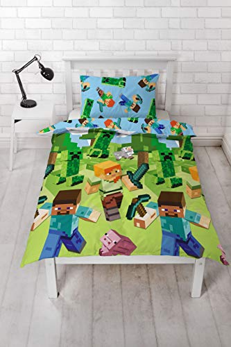 Minecraft Scene - Funda de edredón para cama individual con licencia oficial reversible, diseño de enredadera de dos caras con funda de almohada a juego.