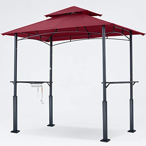 ABCCANOPY 8'x 5' Grill Gazebo Double Tiered Outdoor BBQ Gazebo Canopy with LED Light (Burgundy)