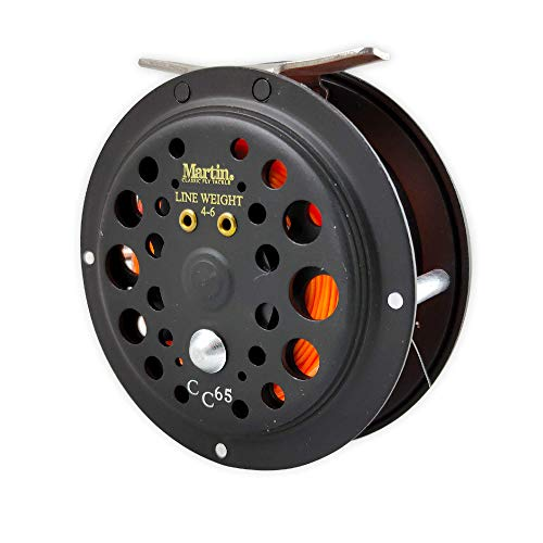 Martin Caddis Creek 6/5 Single Action Fly Fishing Reel, Reinforced Aluminum Spool with Push Button Release, Pre-Spooled with 20-Pound Backing, LT6F Fly Line and 5X Leader