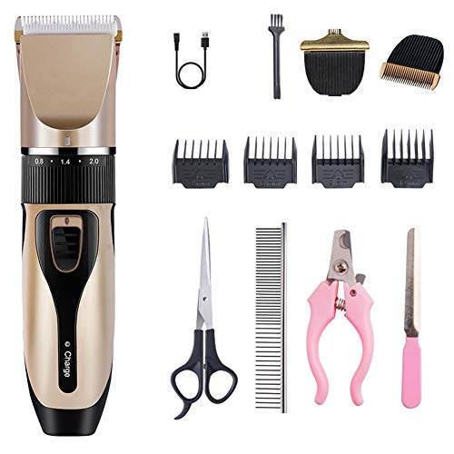 WYQWANLJX Dog Clippers Pet Hair Trimmer Rechargeable Pet Grooming Tool Cordless Professional Low Noise Dog Grooming Kit with Scissors Comb Best Hair Clipper for Dogs Cats Pets