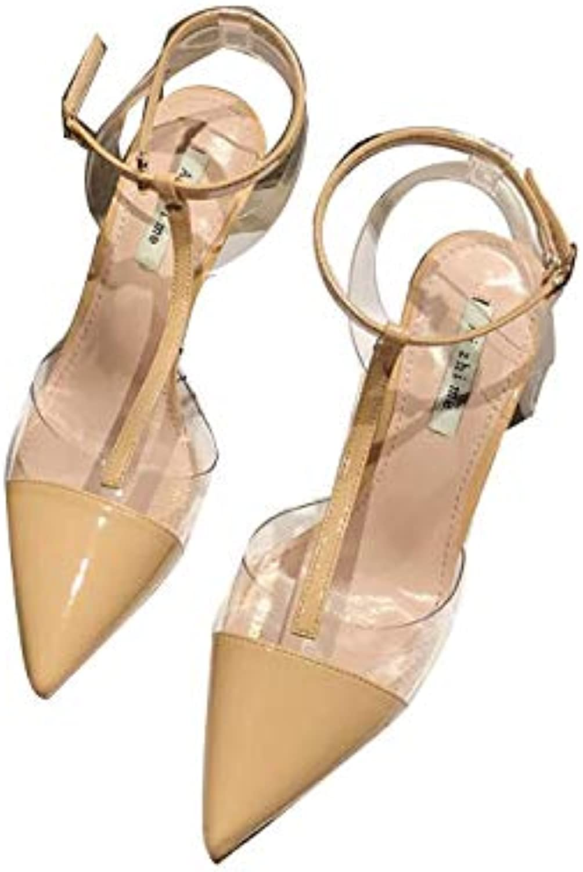ProDIgal Pumps for Women, Clear Sandals Pumps Slip On Wedding Dress shoes