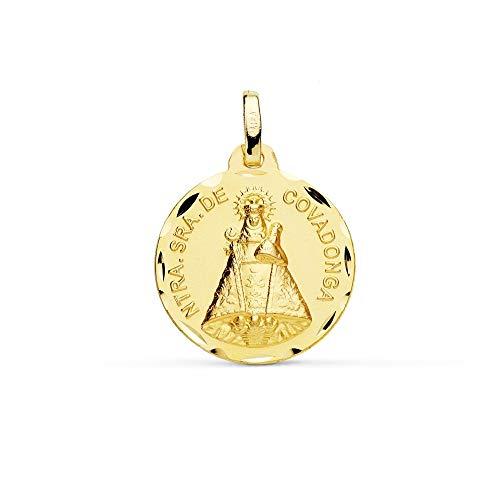 Medalla Oro 9K Virgen De Covadonga 18mm. Redonda Lisa Borde Tallado - Personalizable - Grabación Incluida En El Precio