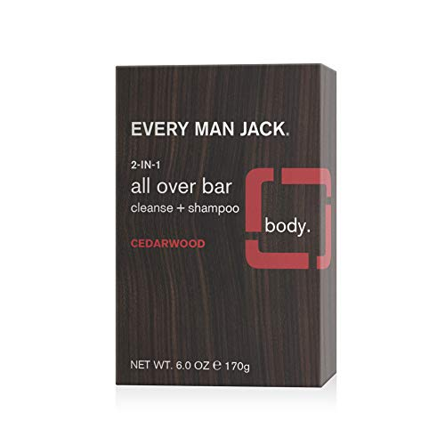 Every Man Jack Men's 2-in-1 All Over Bar - Cedarwood   Naturally Derived, Parabens-free, Pthalate-free, Dye-free, Certified Cruelty Free, Made With 100% PCR Paper   Pack of 1