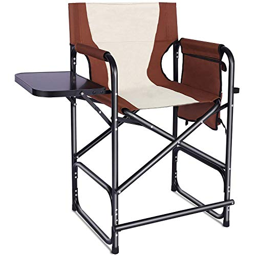 Shaddock Tall Director's Chair Folding Camping Chair, Makeup Artist Collapsible Chair with Side Table Storage Bag Footrest, Supports 300LBS(Brown)