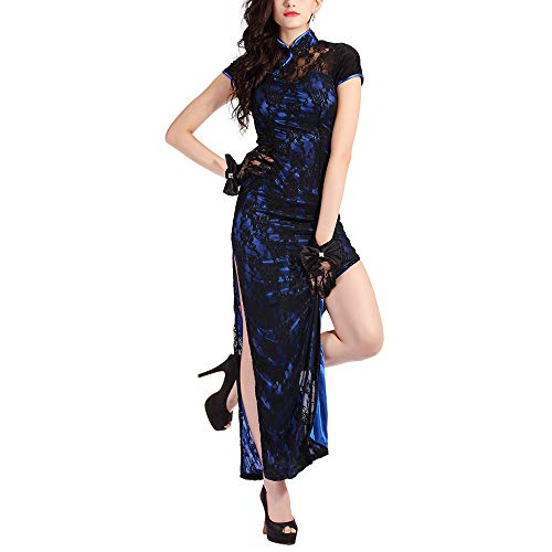 婦人向け 長いチャイナドレス セクシーバラ レース サイド分割 ビンテージ 中国の 肌着ボディコン ドレス 旗袍 中華着物 (M, 伝統襟 青い)