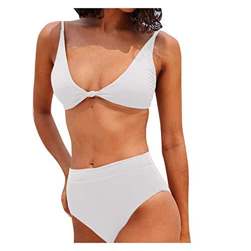 YANFANG Traje de baño de Bikini Delgado con Espalda Abierta de Color sólido Sexy para Mujer,Bikini de Moda de Verano Push Up Traje de baño Acolchado