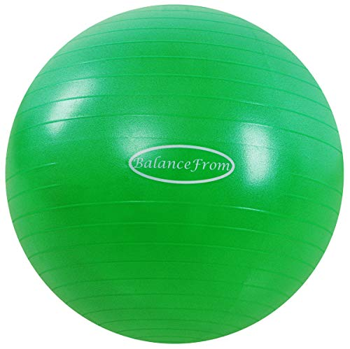 BalanceFrom Anti-Burst and Slip Resistant Exercise Ball Yoga Ball Fitness Ball Birthing Ball with Quick Pump, 2,000-Pound Capacity (48-55cm, M, Green)