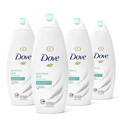 Dove Body Wash For Softer Skin Sensitive Skin Hypoallergenic and Sulfate Free Body Wash, 22 Fl Oz, Pack of 4