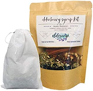 Organic Elderberry Syrup Kit - Makes up to 32oz - Comes with Brewing Bag - Organic Ingredients - DIY - Elderberries - Rosehips - Ginger - Echinacea - Cinnamon - Cloves - Made with Love