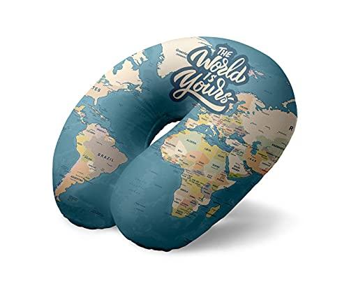 I-TOTAL® - Cuscino da viaggio/Cuscino da viaggio per collo Morbido per supporto cervicale/Cuscini Cuscino da viaggio divertente (Blue Maps)