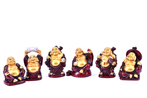 LHR trading inc Set of 6 Feng Shui Laughing Buddha Statue Figures Luck & Wealth 2 inches (Red)