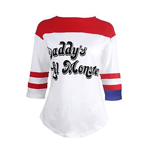 Udekit Camiseta Elástica Raglán para Mujeres Niñas Harley Quinn Cosplay Disfraz Talla Mediana
