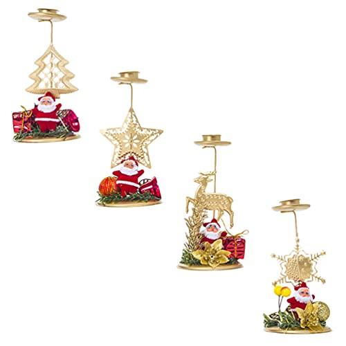 Happyyami 4 Piezas de Portavelas de Navidad Decorativas Portavelas de Navidad Portavelas de Hierro Santa Vela de Navidad Centros de Mesa Decoración Roja