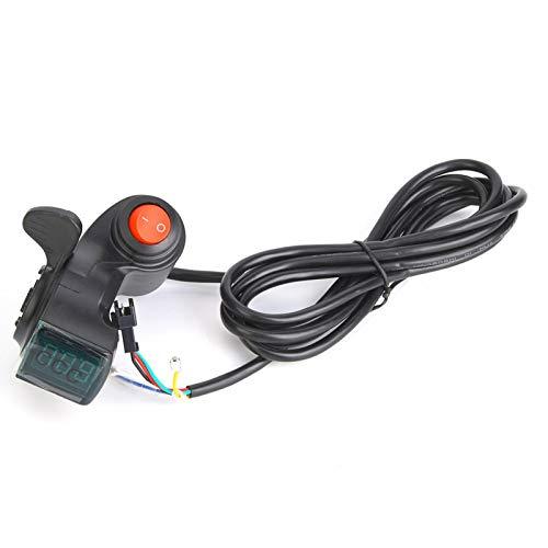 Acelerador de pulgar, acelerador de scooter, bicicleta eléctrica Acelerador de pulgar Pantalla LCD Interruptor de alimentación de voltaje de batería digital para vehículo eléctrico para bicicleta