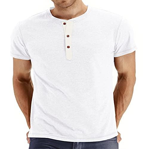 Jersey De Verano para Hombre, Color SóLido, Cuello Redondo, Camiseta Delgada, Ropa De Manga Corta De Talla Grande