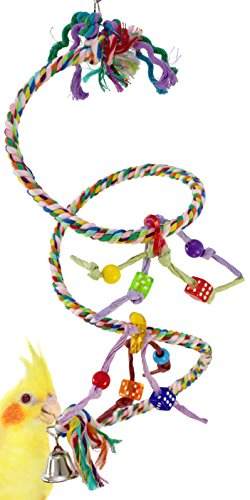 Bonka Bird Toys 1959 Small Charm Rope Boing Coil Swing Bird Toy Parrot cage pet Stand Perch Cockatiel Parakeet Play chew Aviary Bungee Accessories Colored Playground