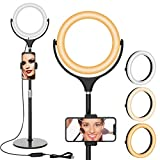 8'' Selfie Ring Light with Stand and Phone Holder - 360° Rotation Dimmable Desktop LED Ring Light for Video Conferencing Shooting TikTok YouTube Live Streaming Vlog Makeup and Photography (Black1)