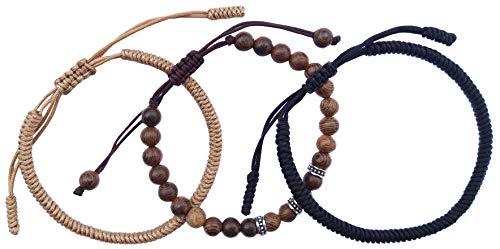 LUCKY BUDDHIST Tibetan Pulseras de la Suerte + Colgante/Collar! Amuletos para Mujeres Hombre Adolescente, tamaño Ajustable. Muñequeras de Amistad, Hecho a Mano de Cuerda (Marrón, Madera, Negra)