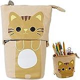 Transformer Stand Store Pencil Holder Canvas Cute Pencil Case Zipper Cat Pencil Box Boys&Girls School Supplies Pen Bags Gifts (Brown)