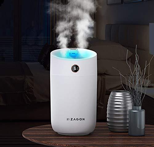 Zagon Humidificador 3L Ultrasónico - Difusor de vapor - Bebés - Silencioso 25 dB - Luz nocturna LED con 7 colores - Con alimentación USB
