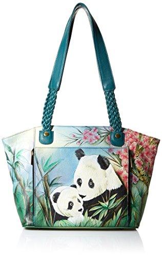 Anna by Anuschka Damen Tasche, handbemalt, Ostwest-Motiv, Leder, (Lovable Panda), Einheitsgröße