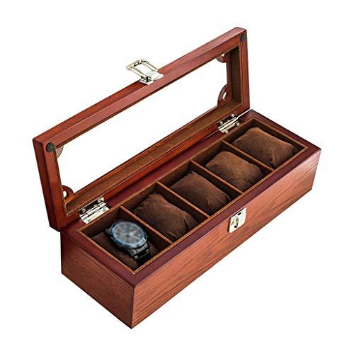 HAILIZI Caja de colección de relojes Madera Caja de reloj de cristal de la tapa 5 del reloj de joyería de lujo almacenaje de la exhibición pulsera caja de la bandeja de la mancuerna Organizador con 5