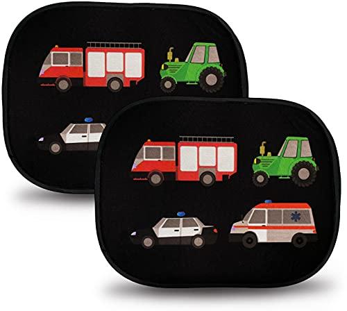 HECKBO 2x Selbsthaftende Auto Sonnenblende - Sonnenschutz für Kinder [2 Stück] (ohne Saugnäpfe) - Feuerwehr,...