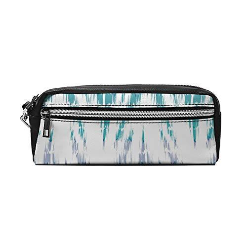 Abstract Teal IKEA Chevron PU Lederen etui Make-up Bag Cosmetische Tas Potloodzak met Rits Reizen Toilettas voor Vrouwen Meisjes